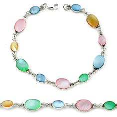 Multi color blister pearl enamel 925 sterling silver tennis bracelet a39595