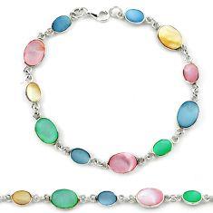 Multi color blister pearl enamel 925 sterling silver tennis bracelet a39599