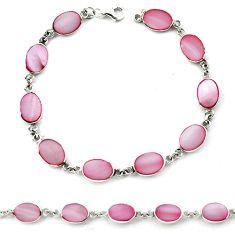 Pink blister pearl enamel 925 sterling silver tennis bracelet jewelry a39604
