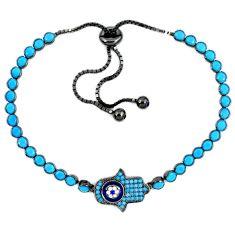 Fine blue turquoise sapphire quartz 925 silver adjustable tennis bracelet a41658