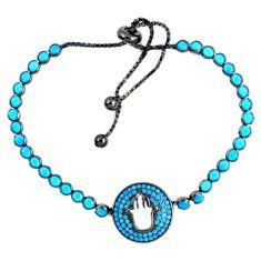 Fine blue turquoise 925 sterling silver adjustable tennis bracelet a41686