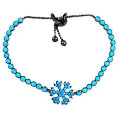 Fine blue turquoise 925 sterling silver adjustable tennis bracelet a41693