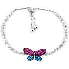 Blue turquoise topaz butterfly 925 silver adjustable tennis bracelet a42331
