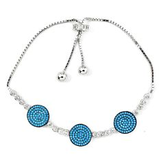 Fine blue turquoise topaz 925 silver adjustable tennis bracelet jewelry a42339
