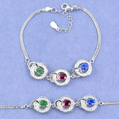 Natural blue sapphire emerald ruby 925 sterling silver tennis bracelet a46233