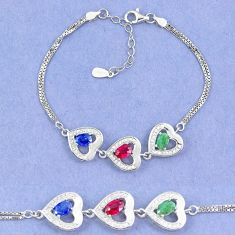 Natural blue sapphire emerald ruby 925 sterling silver tennis bracelet a46236