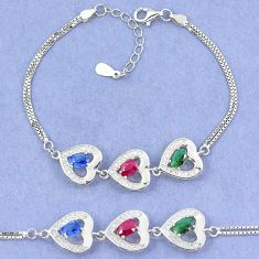 Natural blue sapphire emerald ruby 925 sterling silver tennis bracelet a46257