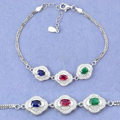 Natural blue sapphire emerald ruby 925 sterling silver tennis bracelet a46298