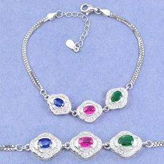 Natural blue sapphire emerald ruby 925 sterling silver tennis bracelet a46311