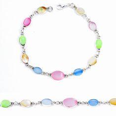Multi color blister pearl enamel 925 sterling silver tennis bracelet a46581