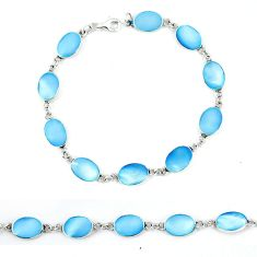 Clearance Sale-Blue pearl enamel 925 sterling silver tennis bracelet jewelry a49734