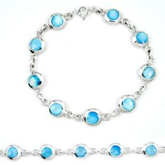 Clearance Sale-Blue pearl enamel 925 sterling silver tennis bracelet jewelry a49736