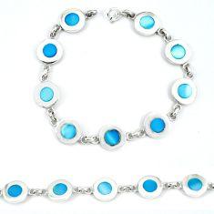 Clearance Sale-Blue pearl enamel 925 sterling silver tennis bracelet jewelry a49738