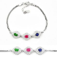 Clearance Sale-Natural blue sapphire emerald ruby 925 sterling silver tennis bracelet a51610
