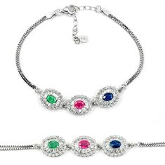 Clearance Sale-Natural blue sapphire emerald ruby 925 sterling silver tennis bracelet a51615