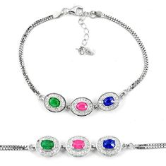 Clearance Sale-Natural blue sapphire emerald ruby 925 sterling silver tennis bracelet a51618