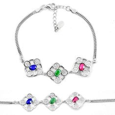Clearance Sale-Natural blue sapphire emerald ruby 925 sterling silver tennis bracelet a51619