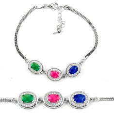 Clearance Sale-Natural blue sapphire emerald ruby 925 sterling silver tennis bracelet a51697