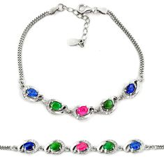 Clearance Sale-Natural blue sapphire emerald ruby 925 sterling silver tennis bracelet a51702