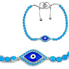 7.50cts adjustable blue evil eye talismans turquoise 925 silver bracelet