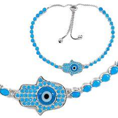 Clearance Sale-Blue evil eye talismans 925 sterling silver tennis bracelet jewelry a55603