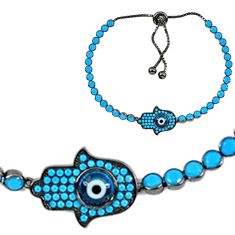 8.00cts adjustable hand of god hamsa blue evil eye talismans 925 silver bracelet