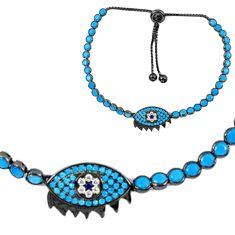 Clearance Sale-Blue sapphire quartz black rhodium 925 silver tennis bracelet jewelry a55611