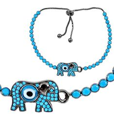 7.00cts adjustable elephant blue evil eye talismans 925 silver bracelet