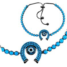 Horseshoe adjustable blue evil eye talismans 925 silver bracelet