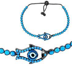 Clearance Sale-925 silver blue evil eye talismans rhodium adjustable tennis bracelet a55625