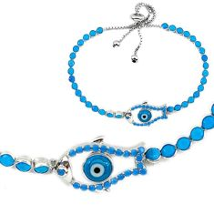 6.50cts adjustable fish blue evil eye talismans 925 silver bracelet