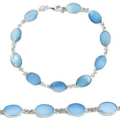 Clearance Sale-925 sterling silver blue pearl enamel tennis bracelet jewelry a56019