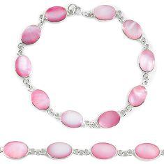 Clearance Sale-Pink pearl enamel 925 sterling silver tennis bracelet jewelry a56020