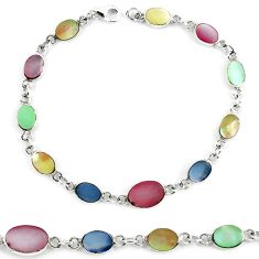 Clearance Sale-Multi color blister pearl enamel 925 sterling silver tennis bracelet a56023