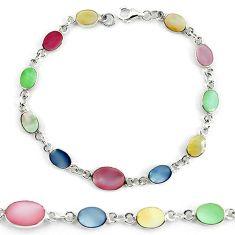 Clearance Sale-925 sterling silver multi color blister pearl enamel tennis bracelet a56024