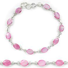 Clearance Sale-Pink pearl enamel 925 sterling silver tennis bracelet jewelry a56042