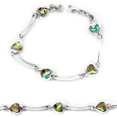 Clearance Sale-Green abalone paua seashell enamel 925 silver tennis bracelet a56066