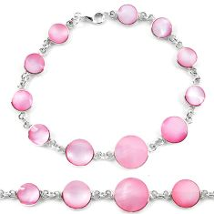 Clearance Sale-Pink pearl enamel 925 sterling silver tennis bracelet jewelry a56082