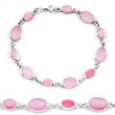 Clearance Sale-Pink pearl enamel 925 sterling silver tennis bracelet jewelry a56135