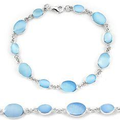 Clearance Sale-Blue pearl enamel 925 sterling silver tennis bracelet jewelry a56137