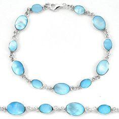 Clearance Sale-925 sterling silver blue pearl enamel tennis bracelet jewelry a56140