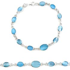 Clearance Sale-Blue pearl enamel 925 sterling silver tennis bracelet jewelry a57692
