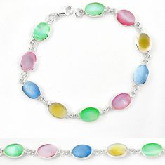 Clearance Sale-Multi color blister pearl enamel 925 sterling silver tennis bracelet a57698
