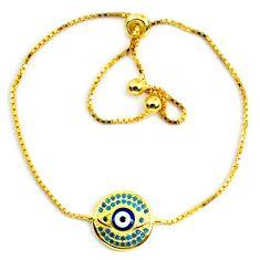 Clearance Sale-Blue evil eye talismans turquoise 925 silver 14k gold adjustable bracelet a58743