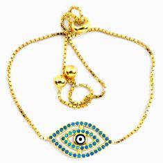 Clearance Sale-Blue evil eye talismans turquoise 925 silver 14k gold adjustable bracelet a58746