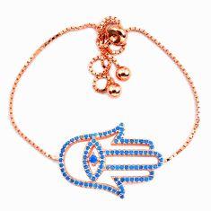 Clearance Sale-Fine blue turquoise 925 sterling silver 14k gold adjustable bracelet a58758