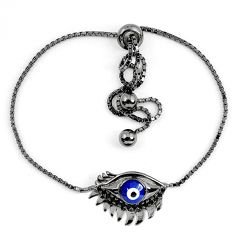 Clearance Sale-925 silver blue evil eye talismans black rhodium adjustable bracelet a58760