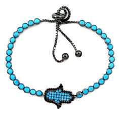 Clearance Sale-Blue sleeping beauty turquoise rhodium 925 silver adjustable bracelet a58801