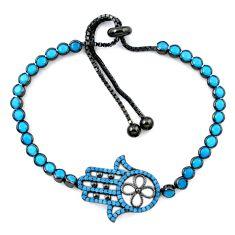 Clearance Sale-Blue sleeping beauty turquoise rhodium 925 silver adjustable bracelet a58803