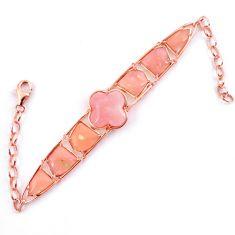 Natural pink opal fancy 925 sterling silver 14k rose gold bracelet a59345